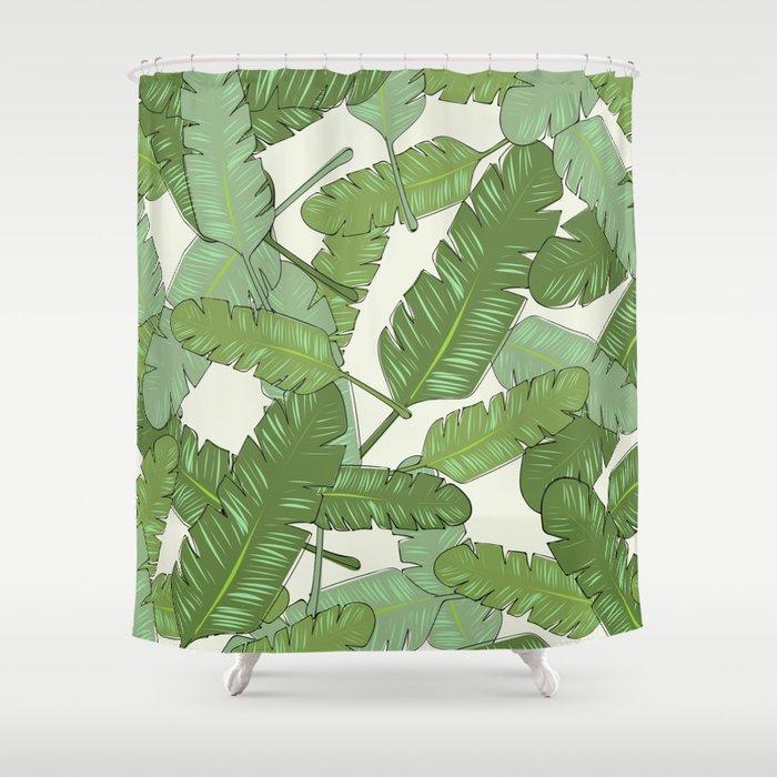 Banana Leaf Print Shower Curtain