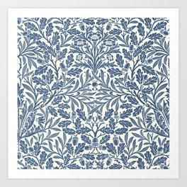 William Morris Navy Blue Botanical Pattern 2 Art Print