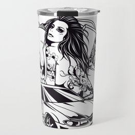 Tattoo GIRL with SKULL AND CAR - Snake Travel Mug