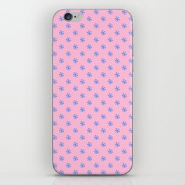 Brandeis Blue on Cotton Candy Pink Snowflakes iPhone Skin