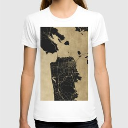 San Francisco California Black and Gold Map T-shirt