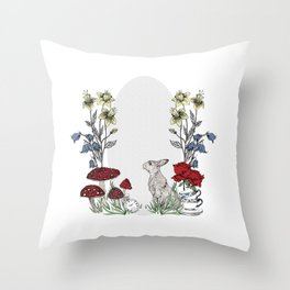 Rabbits Tea Party Throw Pillow