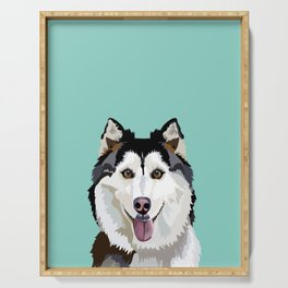 Husky pet portrait art print and dog gifts by pet friendly Serving Tray