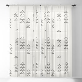 Minimalist Triangle Line Drawing Sheer Curtain