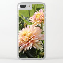 Peachy Pink Flowers Clear iPhone Case