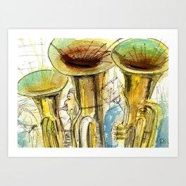 Tubas playing Art Print