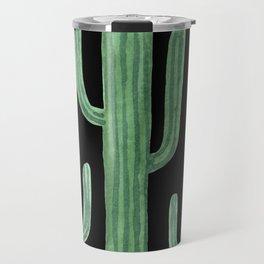 Desert Cacti on Black Travel Mug