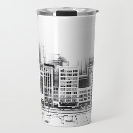 Woodward Avenue Downtown Detroit Black and White Print Travel Mug