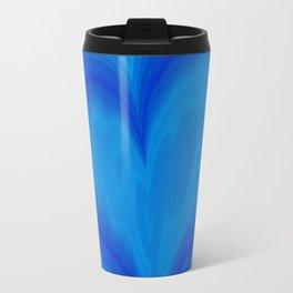Valentine's Day Blue Heart Wavy Pattern Travel Mug