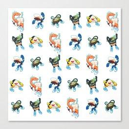 Kaiju Food Monsters Pattern Canvas Print