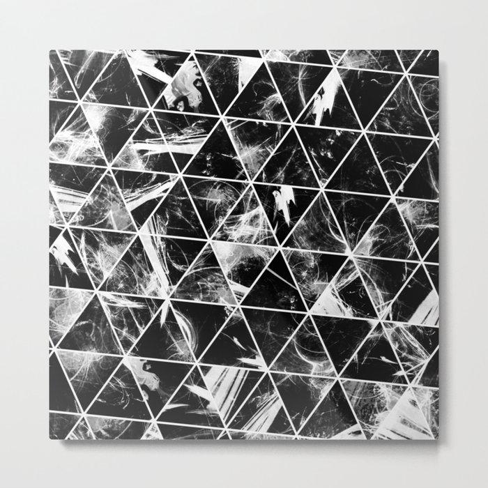 Geometric Whispers - Abstract, black and white triangular, geometric pattern Metal Print