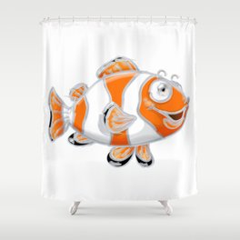 Smiling Guppy Fish Shower Curtain
