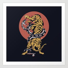 Classic Tattoo Snake vs Tiger Art Print