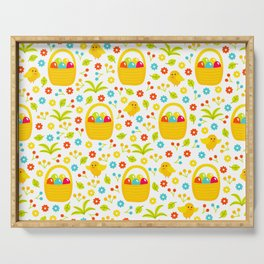 Easter Egg Basket With Little Chicks Pattern Serving Tray