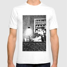 Bar SMALL White Mens Fitted Tee