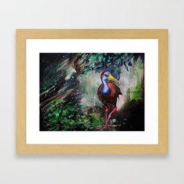 Grey Necked Wood Rail Framed Art Print