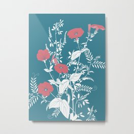 Red and emerald flowers Metal Print