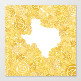 Texas Yellow Rose Outline Canvas Print