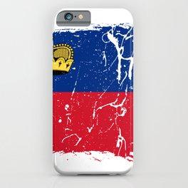 Distressed Liechtenstein Flag Graffiti iPhone Case