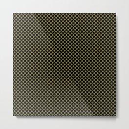 Black and Green Moss Polka Dots Metal Print