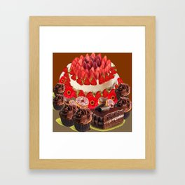 CAKE & STRAWBERRIES PINK FROSTED DONUTS BIRTHDAY Framed Art Print