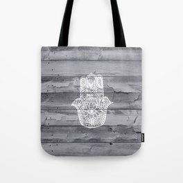 White hand drawn Hamsa hand of fatima on wood  Tote Bag
