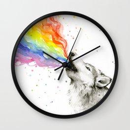 Wolf Rainbow Watercolor Howling Animal Whimsical Animals Wall Clock