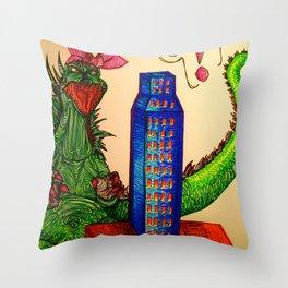 Godzilla boner Throw Pillow