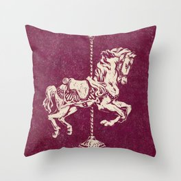 Vintage Carousel Horse - Mulberry Throw Pillow