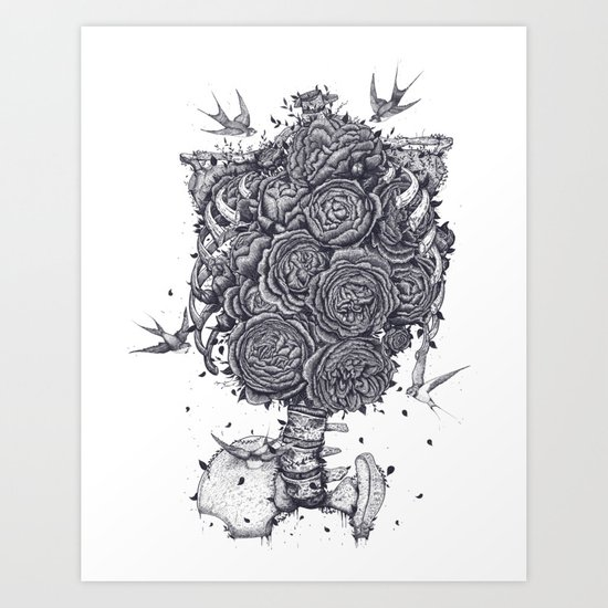 Ribs with peonies Art Print