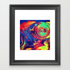 Colorful Motorcycle Engine Framed Art Print