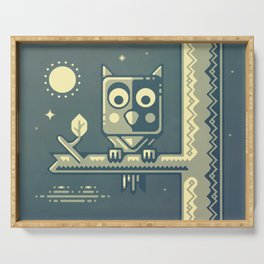Night owl graphic design Serving Tray
