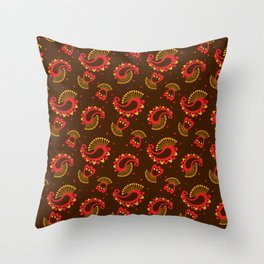 Red and Gold Peacock Paisley Pattern Throw Pillow