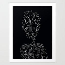 Dreams of Love Minimal Black and White Graffiti Art Portrait  Art Print
