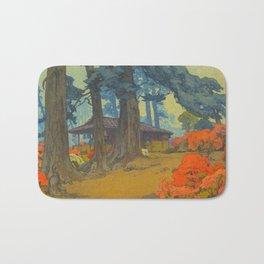 Azalea Garden (Teahouse) 1938 Vintage Beautiful Japanese Woodblock Print Hiroshi Yoshida Bath Mat