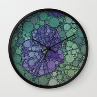 potato Wall Clocks featuring Percolated Purple Potato Flower by Charma Rose