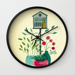 Build a little birdhouse for your heart Wall Clock
