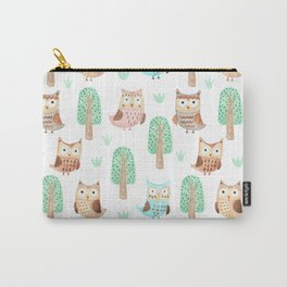 Hand painted pastel coral brown watercolor cute owls floral Carry-All Pouch