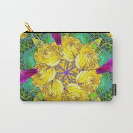 MYSTIC YELLOW ROSES MORNING GLORIES GREEN ART Carry-All Pouch