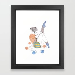 Knitster Girl Socks Framed Art Print
