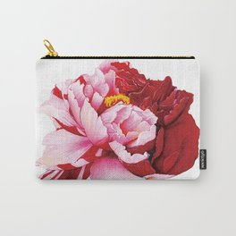 Bi-Color Peony Flower Watercolor Illustration Carry-All Pouch