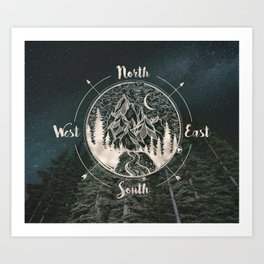 Mountains Compass Milky Way Woods Gold Art Print
