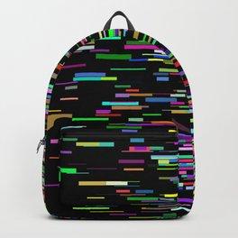 Rainbow bars zooming across black space horizon Backpack