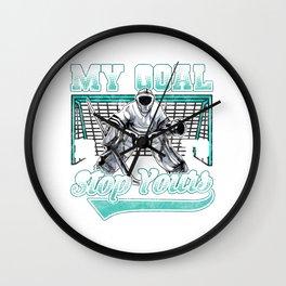 Funny Hockey Defender Denying Goals Wall Clock