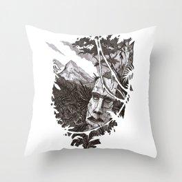Jungle Ruins Throw Pillow
