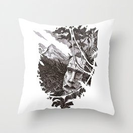 Jungle Ruins Throw Pillow