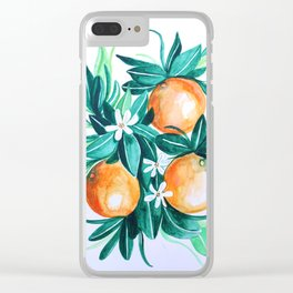 Orange flower watercolor Clear iPhone Case