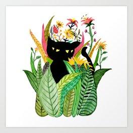 Cat Flower Art Print