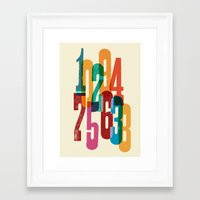 numbers Framed Art Prints featuring Numbers by Marco Campedelli
