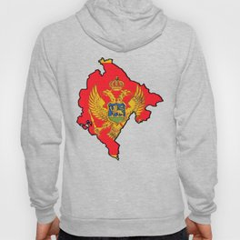 Montenegro Map with Montenegrin Flag Hoody